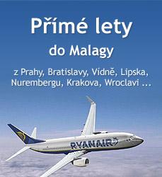 Příme lety do Malagy z Prahy, Bratislavy, Vídně, Krakova, Wroclavi,...